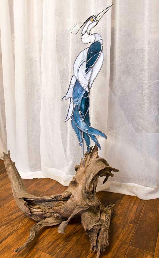 Blue Heron on Driftwood