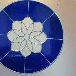 White and Blue Stained Glass Flower